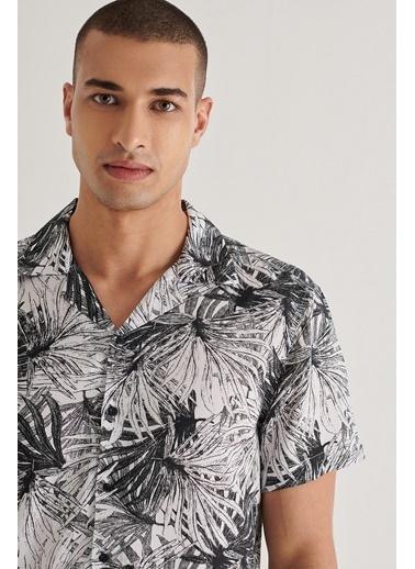 Avva Erkek Baskılı Apaş Yaka Relaxed Fit Kısa Kol Gömlek A11Y2127 Siyah